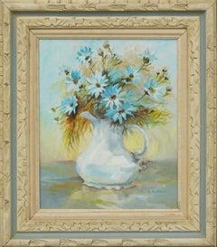 Mid Century Blue Floral Still Life