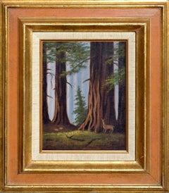 Deer in California Redwoods Mid Century Landscape