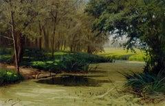 Late 19th Century Shady Stream Bucolic Landscape