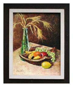 Mid Century Wheat and Fruit Still Life