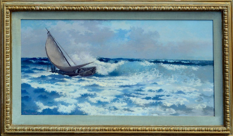 "Presented in a wooden frame. Signed ""C. Davidson"" lower left. Carl Davidson an american artist of Seascapes and sailing scenes. Circa 1955. Image size: 15""H x 30.25""W. Frame size: 20.75""H 35.5""W x 2""D"