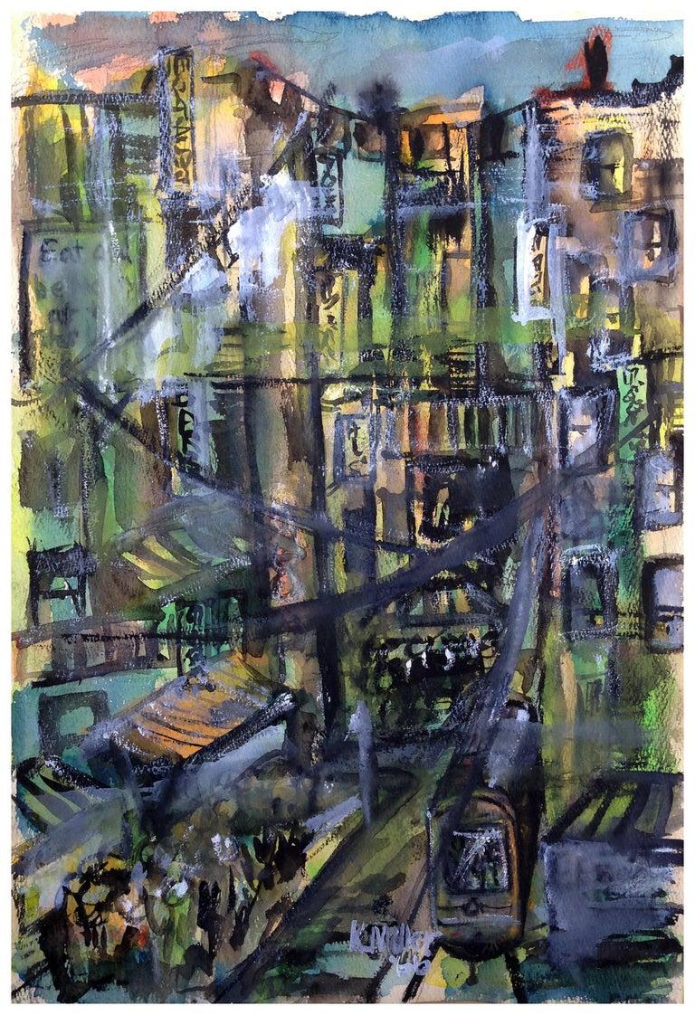 Karen Miller Landscape Painting - Mid Century Urban Cityscape