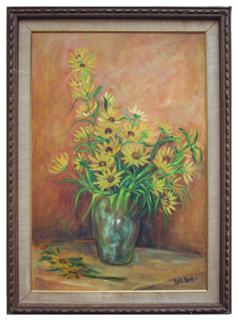 Mid Century Black Eyed Susan Still Life - Painting by Lois Coleman Denton