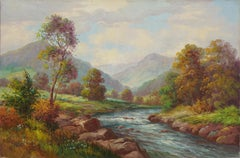Late 19th Century Sierra Mountains & Stream Landscape