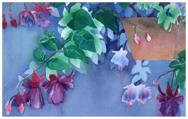 Hanging Fuchsia Still-Life  - Painting by Rose Sloan