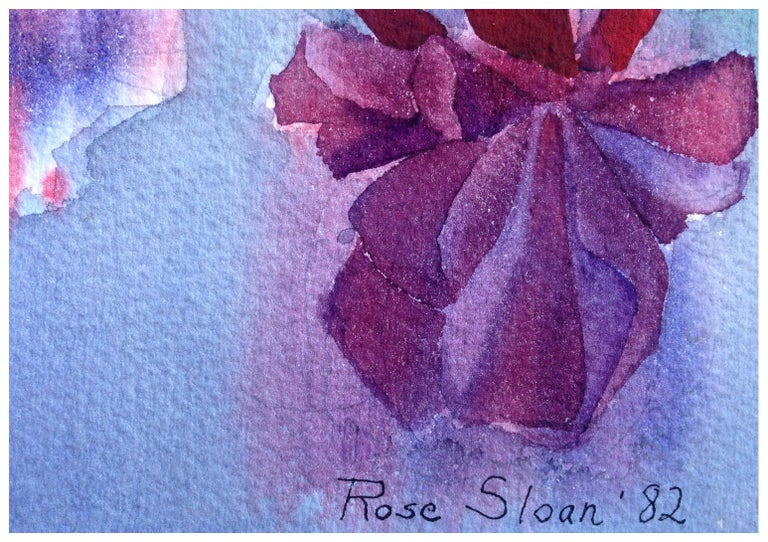 Hanging Fuchsia Still-Life  - Blue Landscape Painting by Rose Sloan