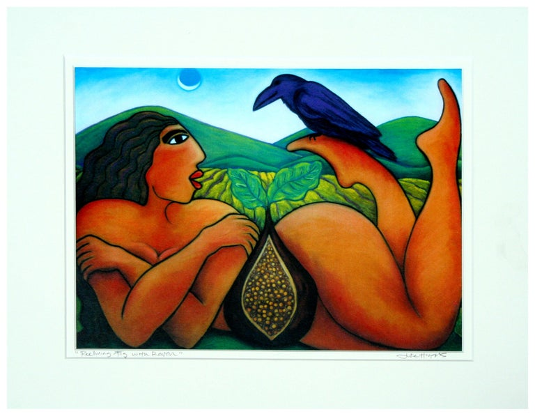 Julie Higgins Nude Painting - Reclining Nude with Fig and Raven