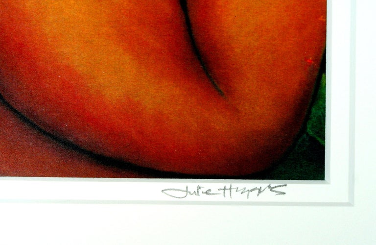 Reclining Nude with Fig and Raven  - Modern Painting by Julie Higgins
