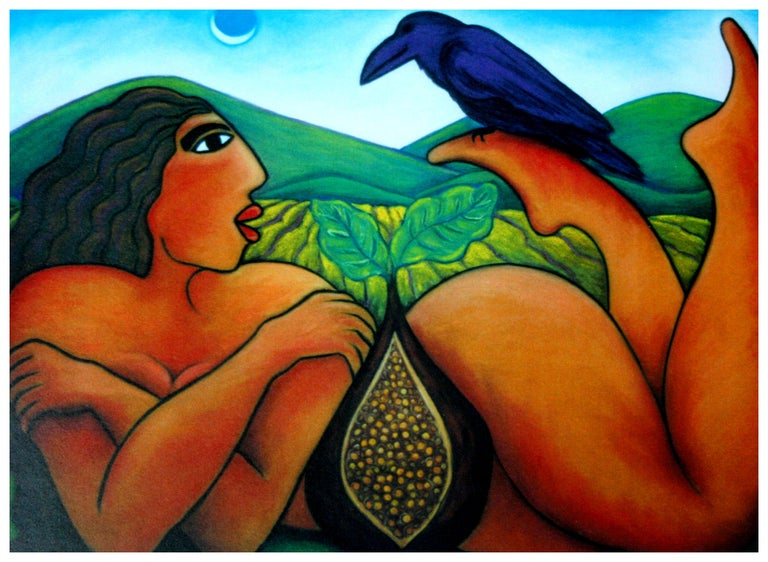 Reclining Nude with Fig and Raven  - Painting by Julie Higgins