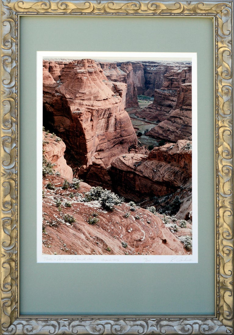 A painter;y photograph of Canyon de Chelly by Rick Canham (American, 20th Century). Presented in a giltwood frame. Titled lower left and signed lower right.   Rick graduated from San Jose State University in 1973 with an BFA in ceramic art, and has