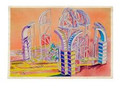 """Domus Series"" - Abstract Geometric Futuristic Landscape"