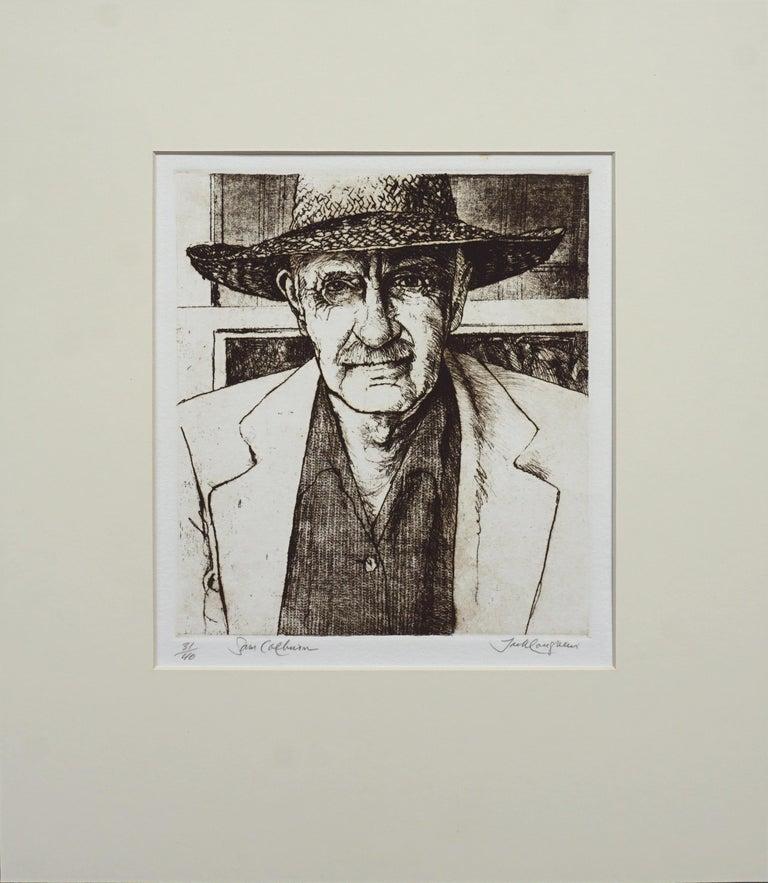 Jack Coughlin Figurative Print - Portrait of Sam Colburn Carmel Artist