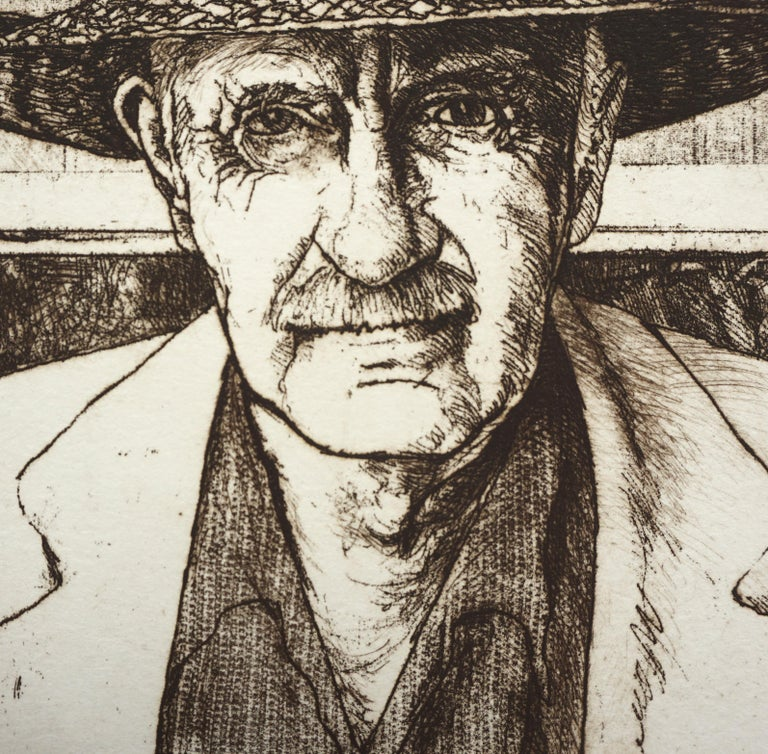 Highly detailed and realistic portrait of the modernist watercolor artist Sam Colburn (American, 1909-1993) by Jack Coughlin (American, b. 1932). Numbered, titled, and signed along bottom edge (