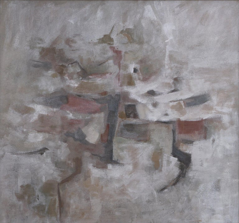 Mid Century Modern Silver Linings Abstract by Corban LePell - Painting by Corban Lepell