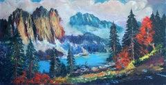 Mid Century Autumnal Sierra Mountains Landscape