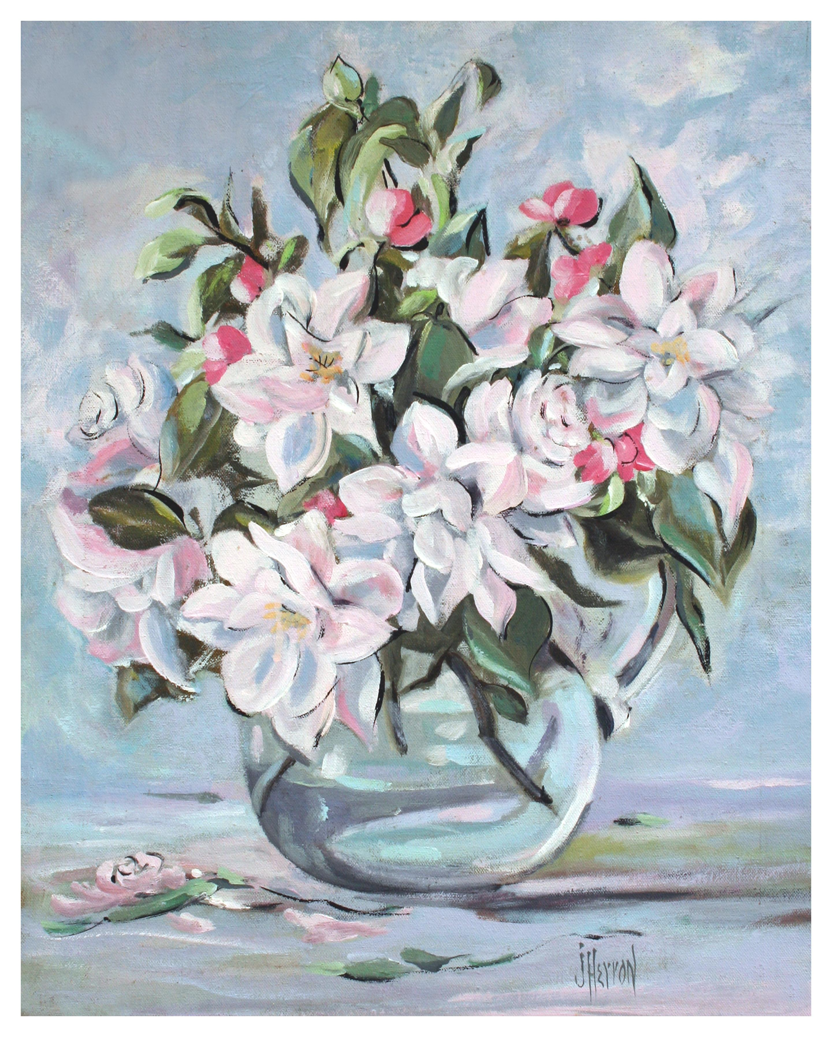 Mid Century Roses and Apple Blossoms Floral Still Life