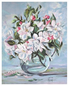 Roses and Apple Blossoms Floral Still Life