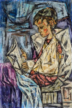 Reading in Bed - Cubist Abstract Figurative