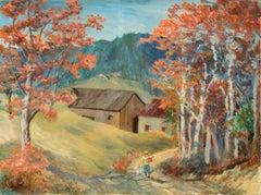 Country Lane - Mid Century Figurative Landscape
