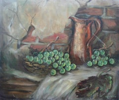 Copper Pitcher and Basket of Grapes Still Life