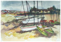 Boats on the Monterey Shore by Doris Warner