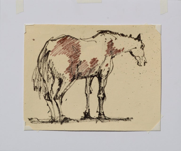 Masterful sketch of a horse by Laurence Sassoon (American, 1928-2015). This piece is unsigned, but was acquired from David Sassoon, the artist's son, and is initialed