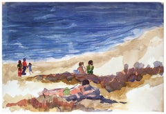 Figures Relaxing at the Beach Landscape by Doris Warner