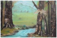 Mid Century Sycamore Trees Near Stream Landscape
