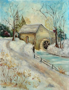 Snow Scene with Old Mill - Winter Landscape