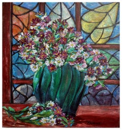 Arts & Crafts Style Floral Still Life