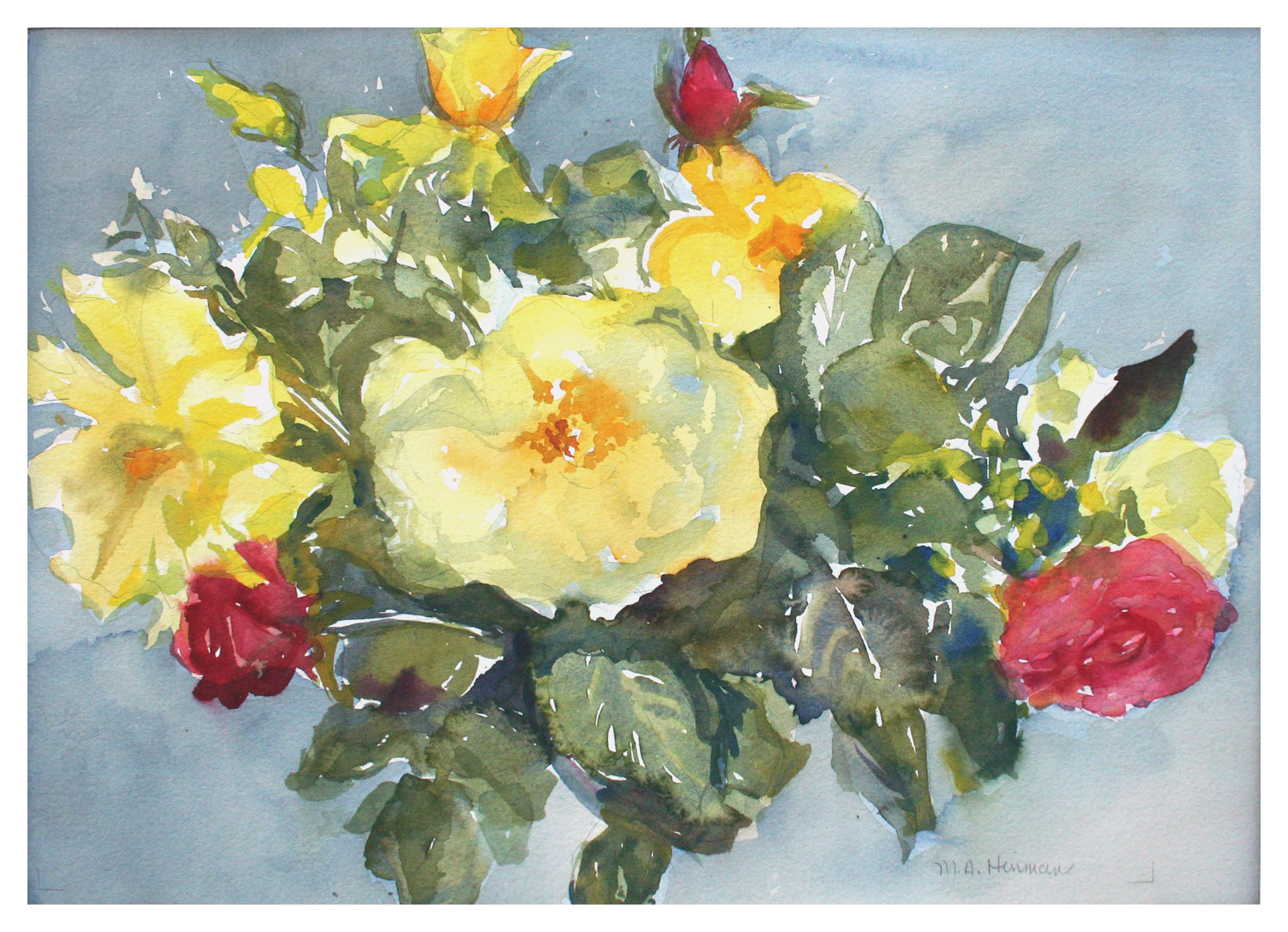 Yellow & Red Roses Watercolor Still Life