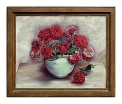 Mid Century Red Zinnia Floral Still Life