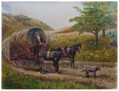 Wagon on the Road Landscape with Donkeys