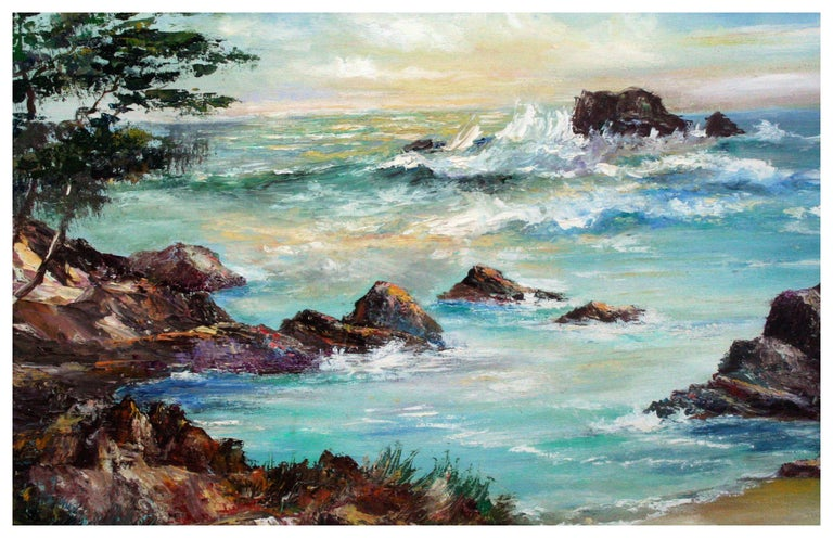 Big Sur Rocky Seascape - Painting by Willard Little