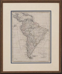 Charte von Sud-America (Map of South America) - Etching with Hand-Drawn Outlines