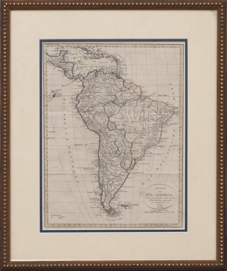 Franz Pluth Print - Charte von Sud-America (Map of South America) - Etching with Hand-Drawn Outlines