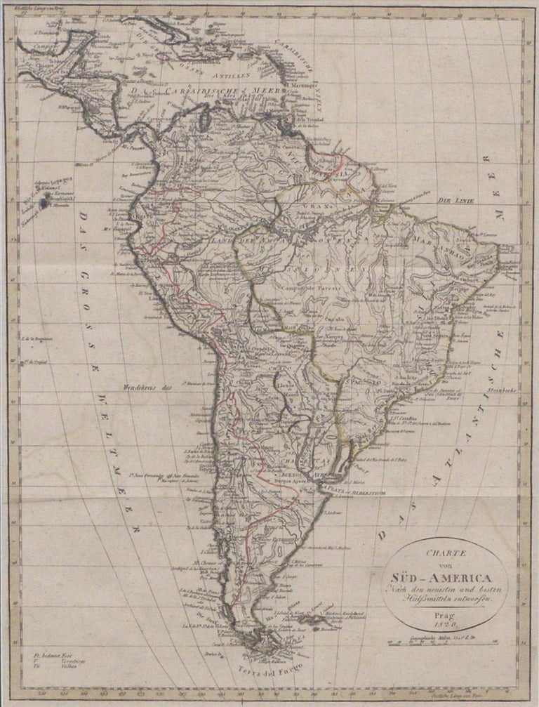 Charte von Sud-America (Map of South America) - Etching with Hand-Drawn Outlines - Print by Franz Pluth