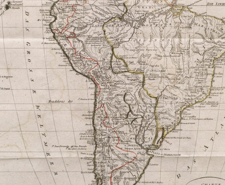 Charte von Sud-America (Map of South America) - Etching with Hand-Drawn Outlines - Beige Print by Franz Pluth