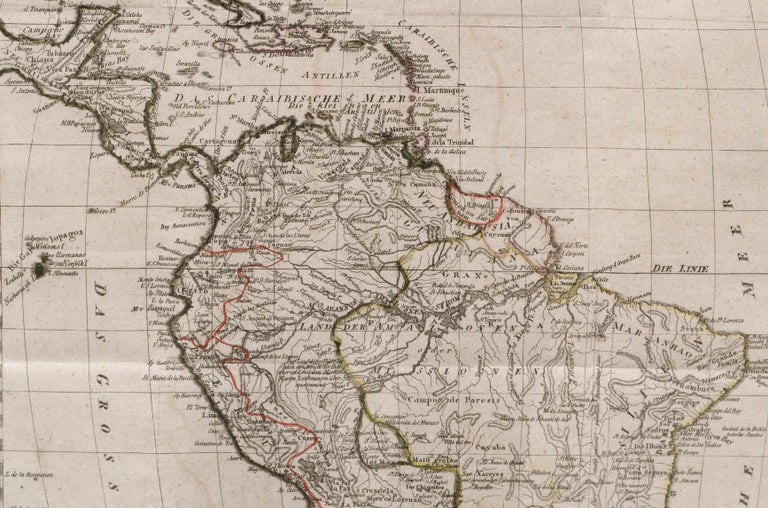 Charte von Sud-America (Map of South America) - Etching with Hand-Drawn Outlines - Other Art Style Print by Franz Pluth