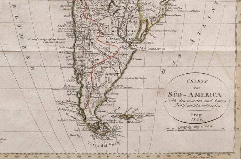 Map of south America, engraved by Franz Pluth (Czech, 1800-1871), from the book