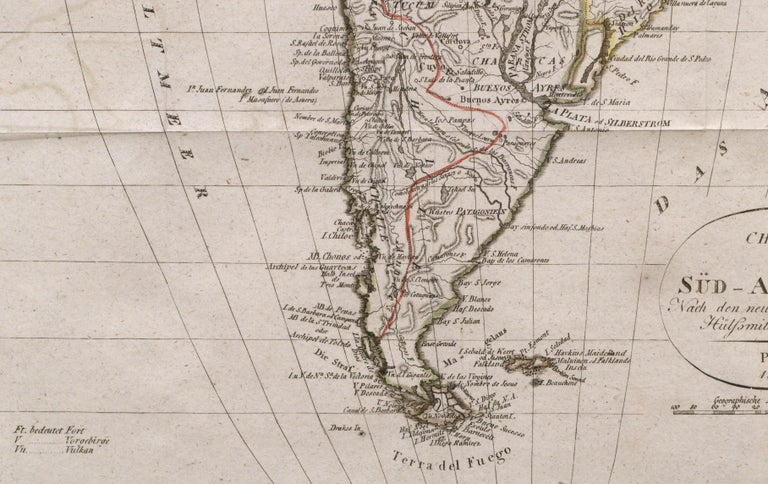 Charte von Sud-America (Map of South America) - Etching with Hand-Drawn Outlines For Sale 1