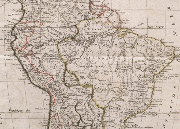 Charte von Sud-America (Map of South America) - Etching with Hand-Drawn Outlines For Sale 2