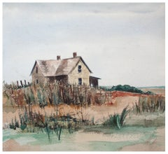 Barn by the Sea - Beachy Watercolor Landscape