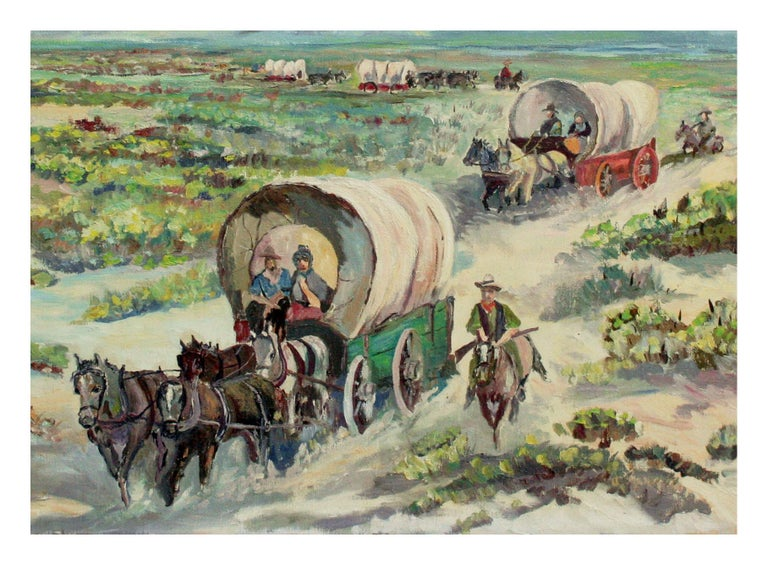 Oregon Trail Western Landscape - Painting by Harry Roerade