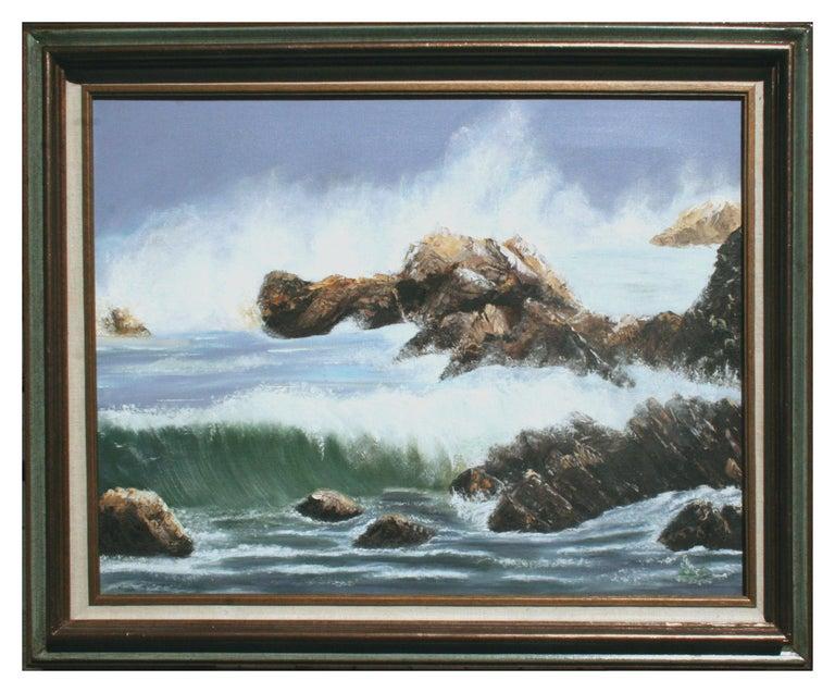 Elsie Grace Landscape Painting - Mid Century Pacific Coast Waves Seascape