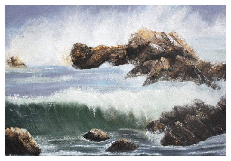 Mid Century Pacific Coast Waves Seascape - Painting by Elsie Grace