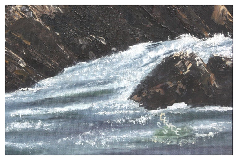 Mid Century Pacific Coast Waves Seascape - Gray Landscape Painting by Elsie Grace
