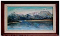 Mid Century Wyoming Teton Mountain Range Landscape