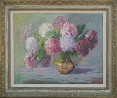Mid Century Hydrangeas in Copper Pitcher Still LIfe