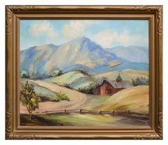 Barn Beneath Mt. Tamalpais - Mid Century California Landscape
